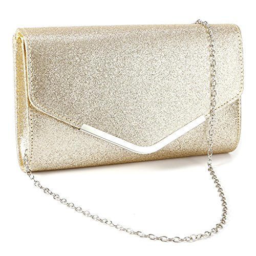 Anladia Metal-Tipped Purse Sparkle Glittered Envelope Clutch Bag Bridal Prom Party Purse by Anladia (Image #6)
