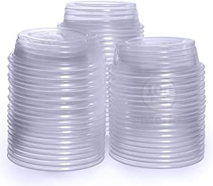 Meric Gecko Food Container, Transparent PVC Plastic Cups for Feeding & Drinking, No-Leak and Escape Design to Keep Mealworms Inside, 100 Pieces per Pack