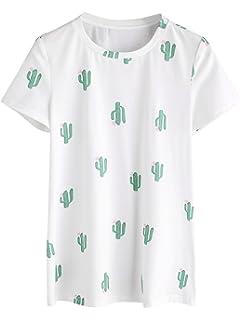 a6877c8deb2 Romwe Women's Casual Tunic Top Planet Logo Allover Cartoon Cacti Cactus  Graphic Print Tee Shirt