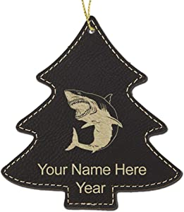 LaserGram Faux Leather Christmas Ornament, Great White Shark, Personalized Engraving Included (Black Tree)