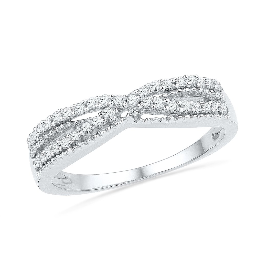 10KT White Gold Round Diamond Twisted Fashion Ring (1/5 cttw)