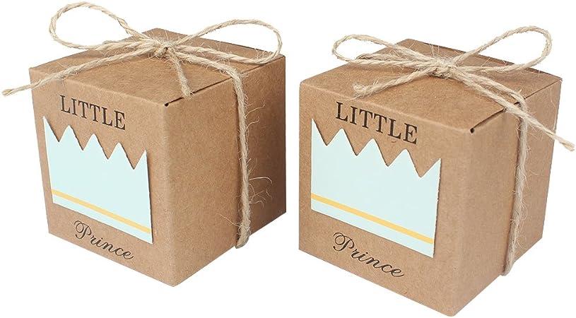 AerWo 50pcs principito Baby Shower Favor cajas + 50pcs cordeles Bow, rustico papel kraft bolsa de caramelos caja de regalo para baby shower Party Supplies Cute 1er cumpleaños decoracion, azul: Amazon.es: Hogar