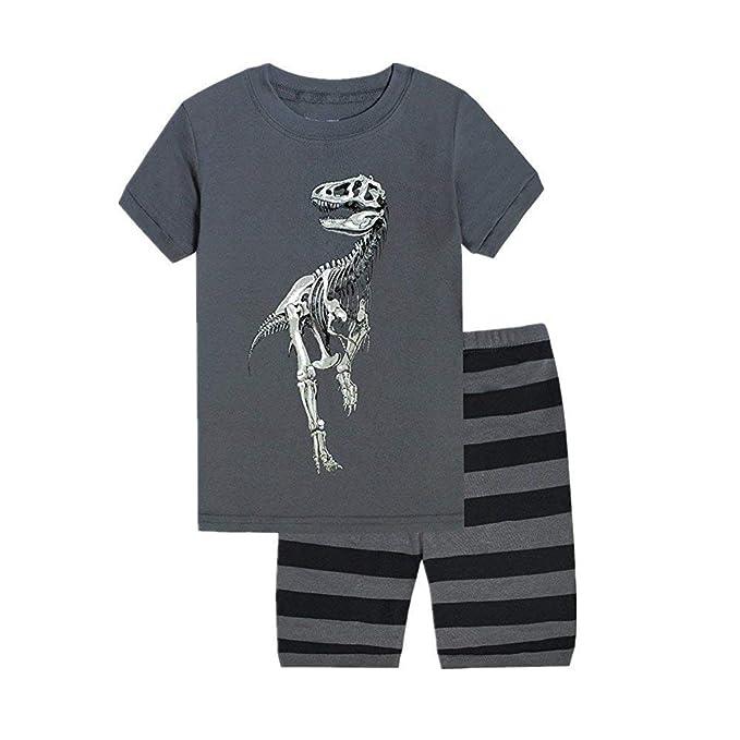 dc71f77949c6 Amazon.com  2Pcs Cute Dinosaur Pajamas Toddler Baby Boy Outfits T ...