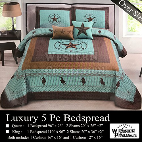Western Collection New 5 Pieces Western Stars and Horses Cowboy Luxury Home Quilt Bedspread Oversize Comforter with Cushions (King, Turquoise Star) (5 Star King Comforter Sets)