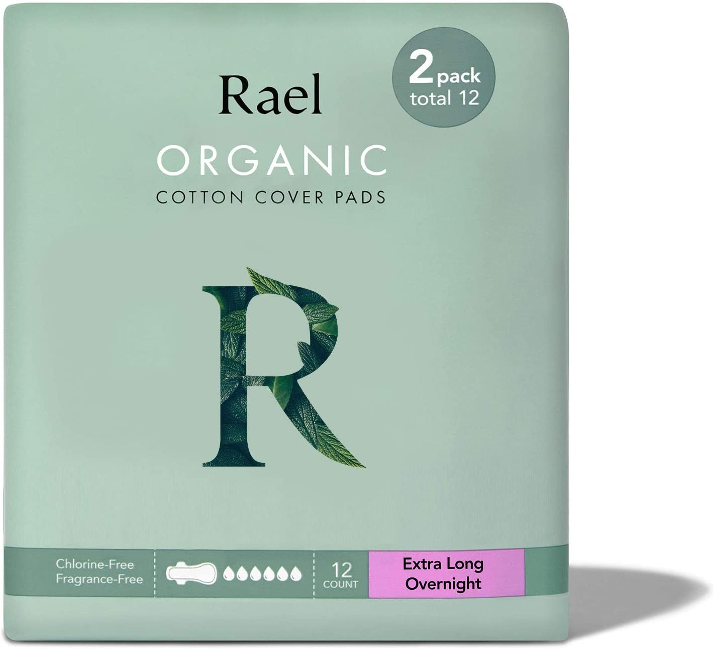 Rael Organic Cotton Sanitary Pads - Extra Long Overnight Size, Heavy Absorbency, Unscented, Ultra Thin Pads for Women, Postpartum (12 Count)