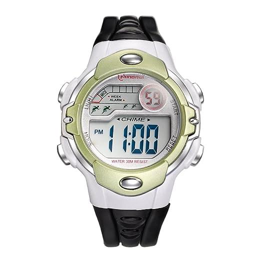 43b3159a4 Niño] Reloj deportivo,Cronómetro digital 30m impermeable Luminoso  Calendario Mes de la semana Multifunción Niña Estudiante Relojes  electrónicos-G: ...