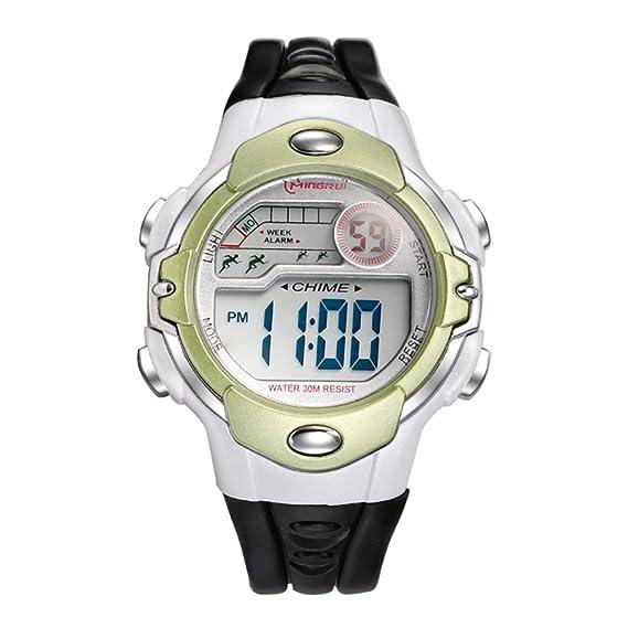 Niño] Relojes digitales,Niña Chico Impermeable Multifunción Reloj deportivo Goma Correa con hebilla pasador-G: Amazon.es: Relojes