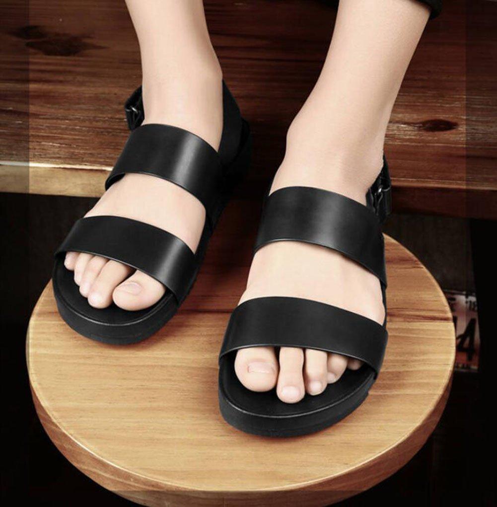 Men Genuine Leather Beach Sandals Summer Slip//Fashion Mens Slippers//Large Size Outdoor Black Leather Sandals Color : Black, Size : 40