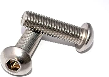 10 St/ück - ISO 7380-1 Linsenkopfschrauben mit Innensechskant Vollgewinde Flachkopfschrauben SC7380-1 rostfreier Edelstahl A2 V2A ISK - M8x50 -