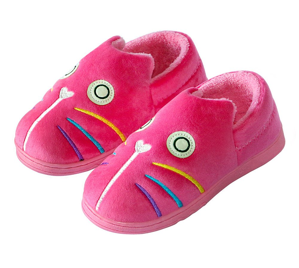 OSHOW Kids Slippers Cute Cartoon Cat House Shoes Warm Toddler Slippers For Indoor Outdoor