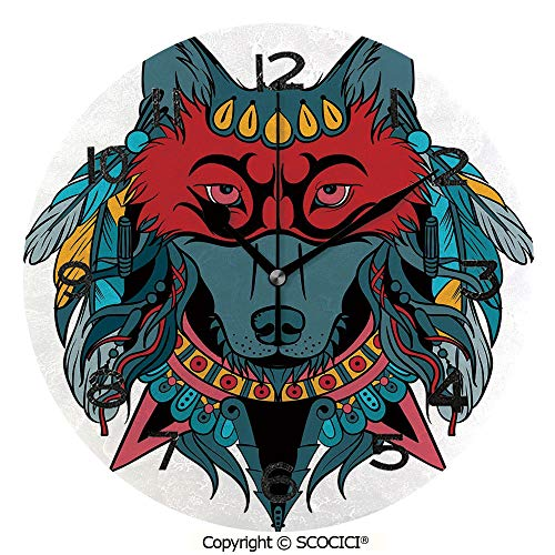 (SCOCICI Frameless Clock 3D DIY Decorative Clock Ethnic Warrior Wolf Portrait with Mask Feathers Native American Animal Art 10 Inch Large Size Round Wall Clock for Living Room Bedroom Office)