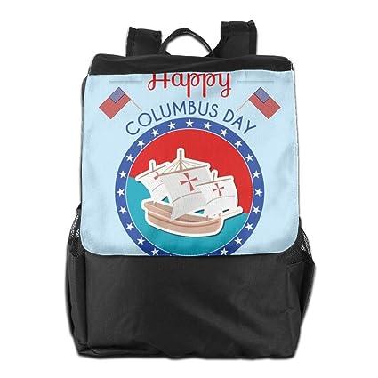 HSVCUY Mochila Personalizada al Aire Libre, Viaje/Camping/School-Happy-Columbus
