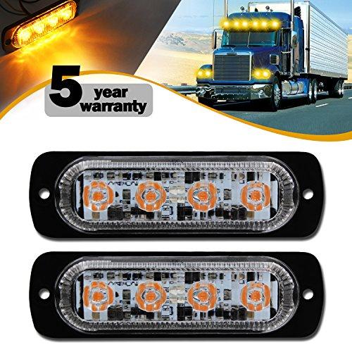 FXC Warning Lights Waterproof Emergency 4 LED Beacon Hazard Strobe Lamps 19 Modes Mini Ultra Slim Bar Safety Flashers(pack of 2) ()