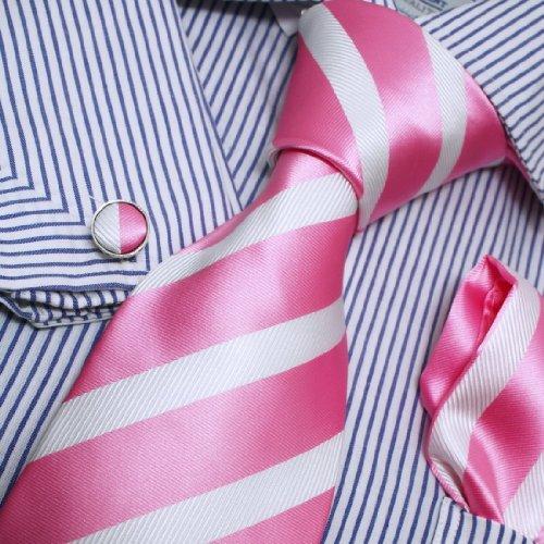Pink White Stripes Woven Silk Tie Hanky Neck Tie for Him Cufflinks Set with Presentation Box PH1012 One Size Pink,white (Cufflinks Stripes Necktie)