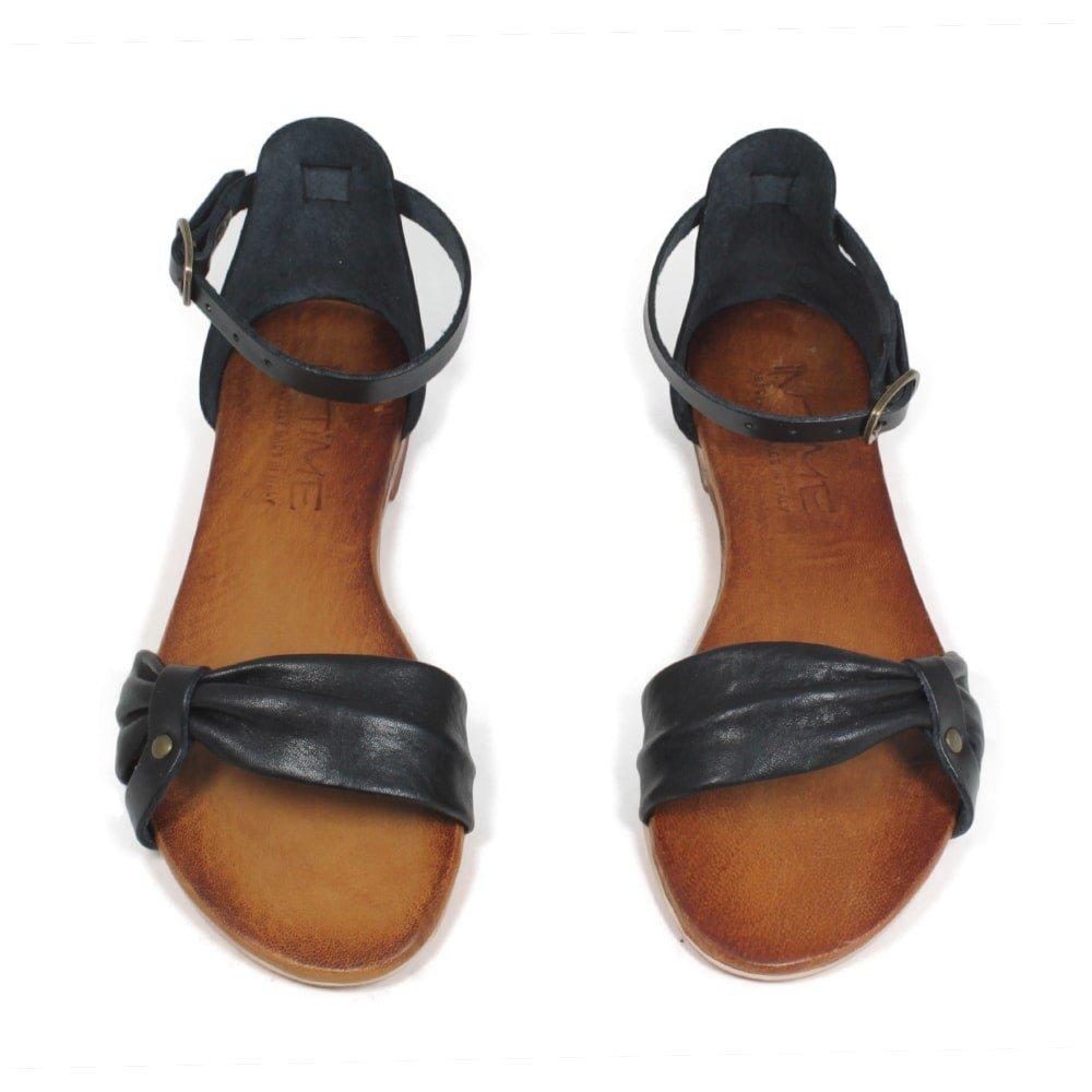 In Time Sandalo Bassi Flat Pelle Made Donna Vera Pelle Flat Nero Cuoio 0412   1d529c