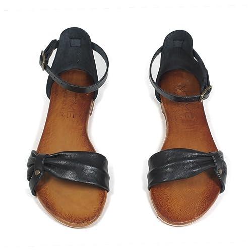 spedizione gratuita molti stili migliore vendita In Time Sandali Bassi Flat Donna Vera Pelle Nero Cuoio 0412 Made in Italy