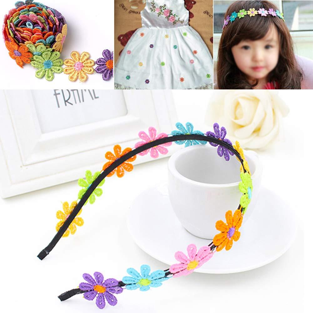 XUNHUI Parches de encaje de flores para bordar ropa decoraci/ón accesorios de bricolaje coser en vestidos de novia 5 piezas encaje recortado