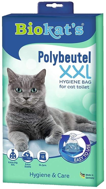 Biokats XXL, bolsas desechables - Para colocar en el arenero para gatos - Cambio higiénico y sencillo de la arena para gatos, 12 Packs of 12 unidades