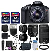 Canon EOS Rebel T6 Digital SLR Camera + Canon 18-55mm EF-S f/3.5-5.6 IS II Lens & EF 75-300mm f/4-5.6 III Lens + Wide Angle Lens + 58mm 2x Lens + Auto Power Flash + 32GB SDHC Card + Accessory Bundle