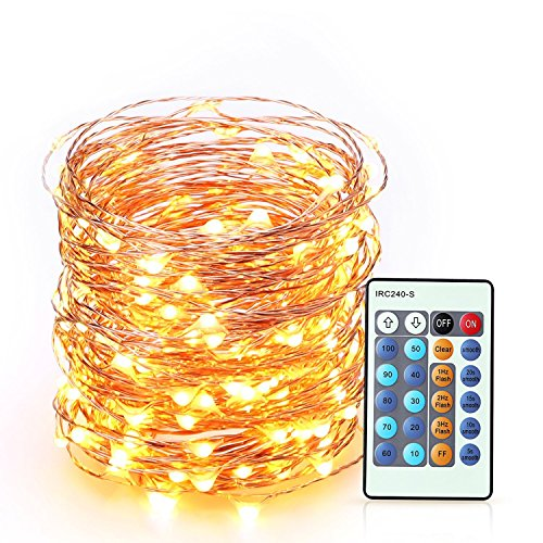 LED String Lights 66 Feet Long 200 LEDs BearMoo Dimmable Glimmer Decorative Lights with Remote Control for Bedroom, Wedding, Parties, Complete Waterproof, UL Listed, Copper Wire Lights, Warm White