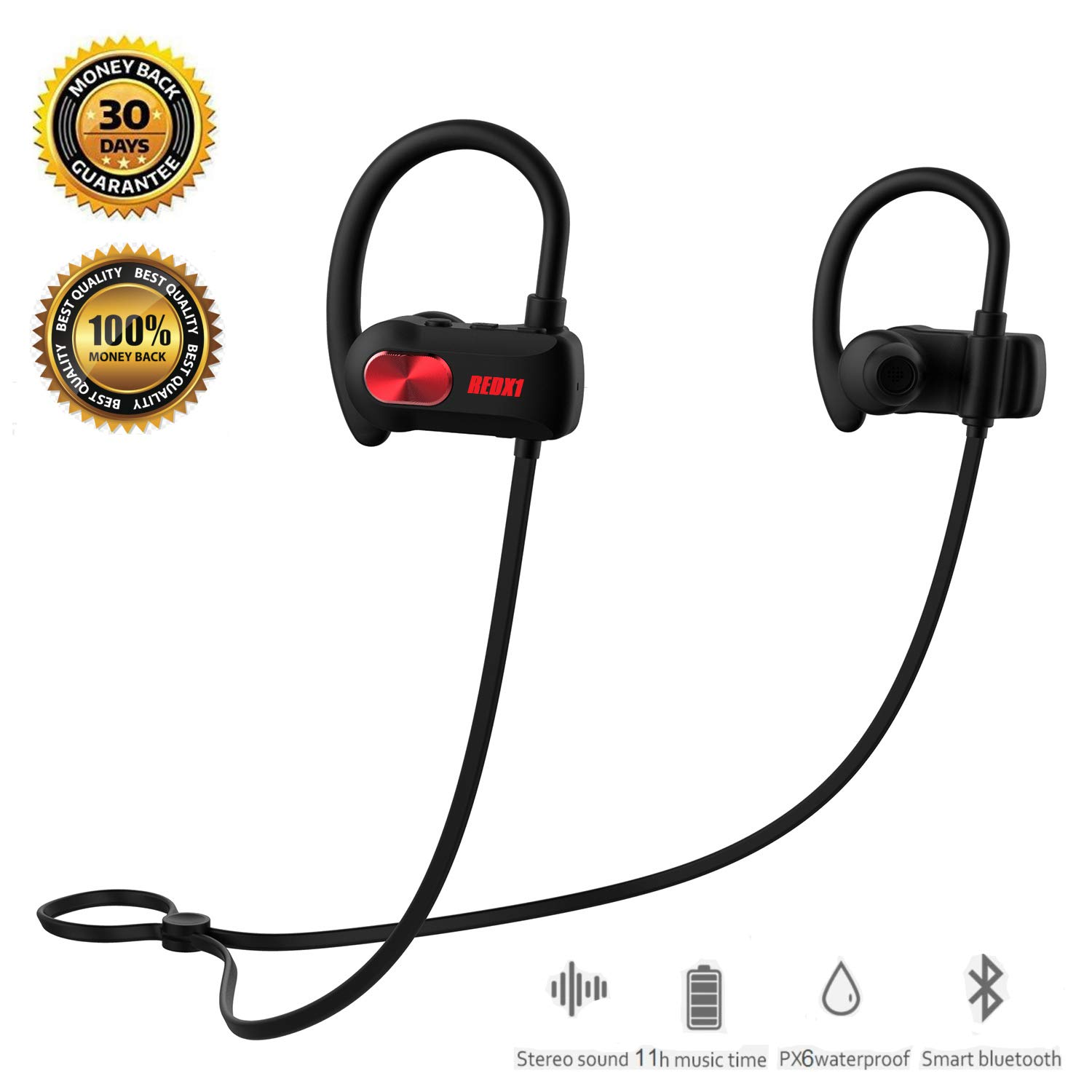 REDX1 Bluetooth Headphones, Best Wireless Sports Earphones w Mic IPX6 Waterproof HD Stereo Sweatproof Earbuds for Gym Running Workout 11 Hour Battery Noise Cancelling Headsets