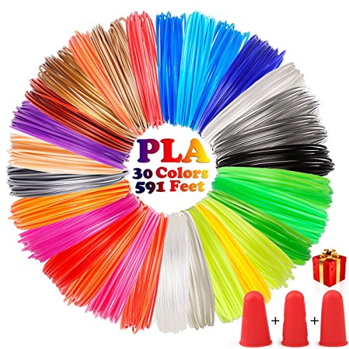 3D Pen Filament Refills, OUSI Upgrated 30 Vibrant Colors Kid 3D Printer 1.75mm PLA 3D Drawing Pen for Kids Pack 3 Finger Caps with 6 Glow in Dark High-Precision Diameter Filament Total 591 FT Lengths