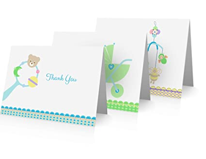Amazon Com Baby Shower Thank You Cards 24 Fold Over Cards And