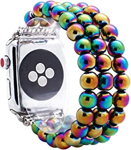 KAI Top Compatible for Apple iWatch Band 38mm 40mm 42mm 44mm ,8mm Hematite Beaded Elastic Band Comptible with iWatch Series 5 4 3 2 1,Beaded Stretch Bracelet Replacement Strap Band for Women Girls