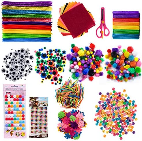 GION 1240 Pcs Arts and Crafts Supplies for Kids Include Pipe Cleaners Pom Poms Craft Sticks Buttons Sequins for Craft DIY Art Supplies