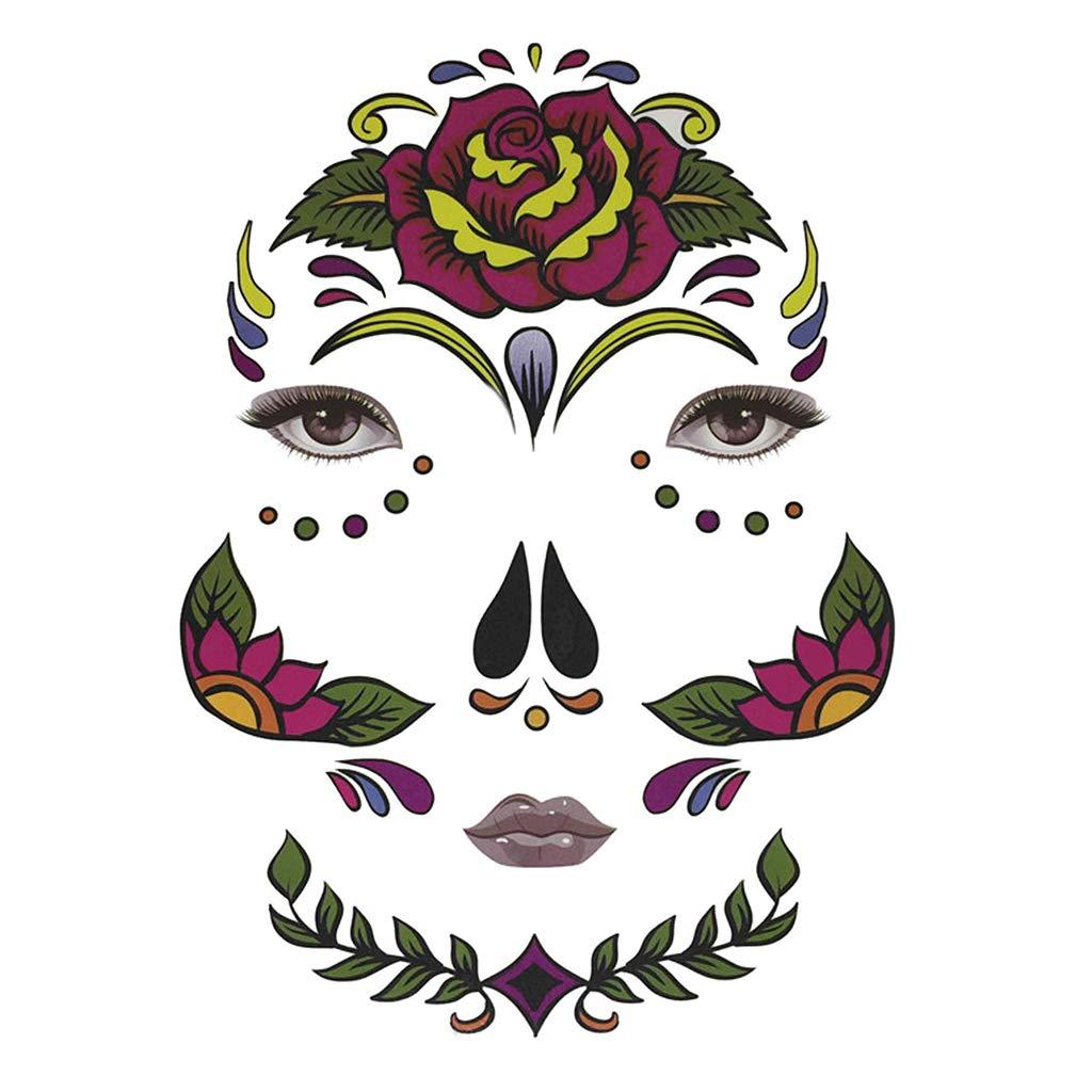 B Baosity Kit de Hojas Pegatinas Cara D/ía de Muertos oFtogr/áfico Despedida de Soltera D/ía de Muertos Halloween Mujeres Hombres Cruzar