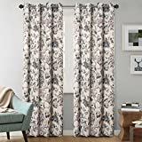 H.VERSAILTEX Thermal Insulated Blackout Window Room Grommet Indoor Curtains-52 inch Width by 96 inch Length-Set of 2 Panels-Vintage Floral Pattern in Sage and Brown