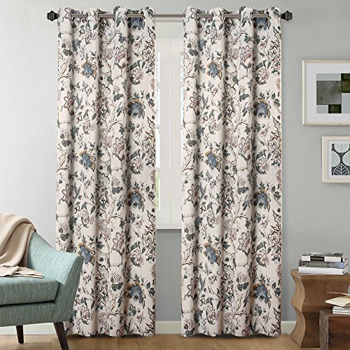 H.Versailtex Thermal Insulated Blackout Grommet Curtain Drapes for Living Room-52 inch Width by 84 inch Length-Set of 2 Panels-Vintage Floral Pattern in Sage and Brown (Blue Curtain Room For Ideas Living)