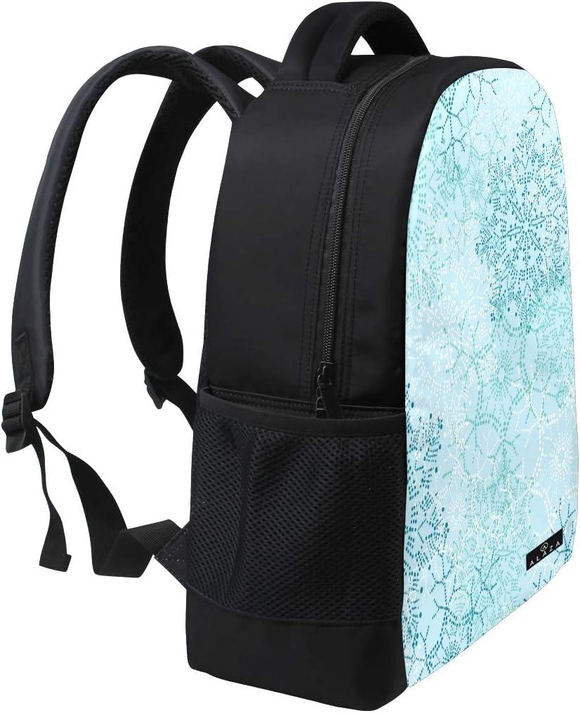 Christmas Snowflake Pattern Print Laptop Backpack High School Bookbag Casual Travel Daypack