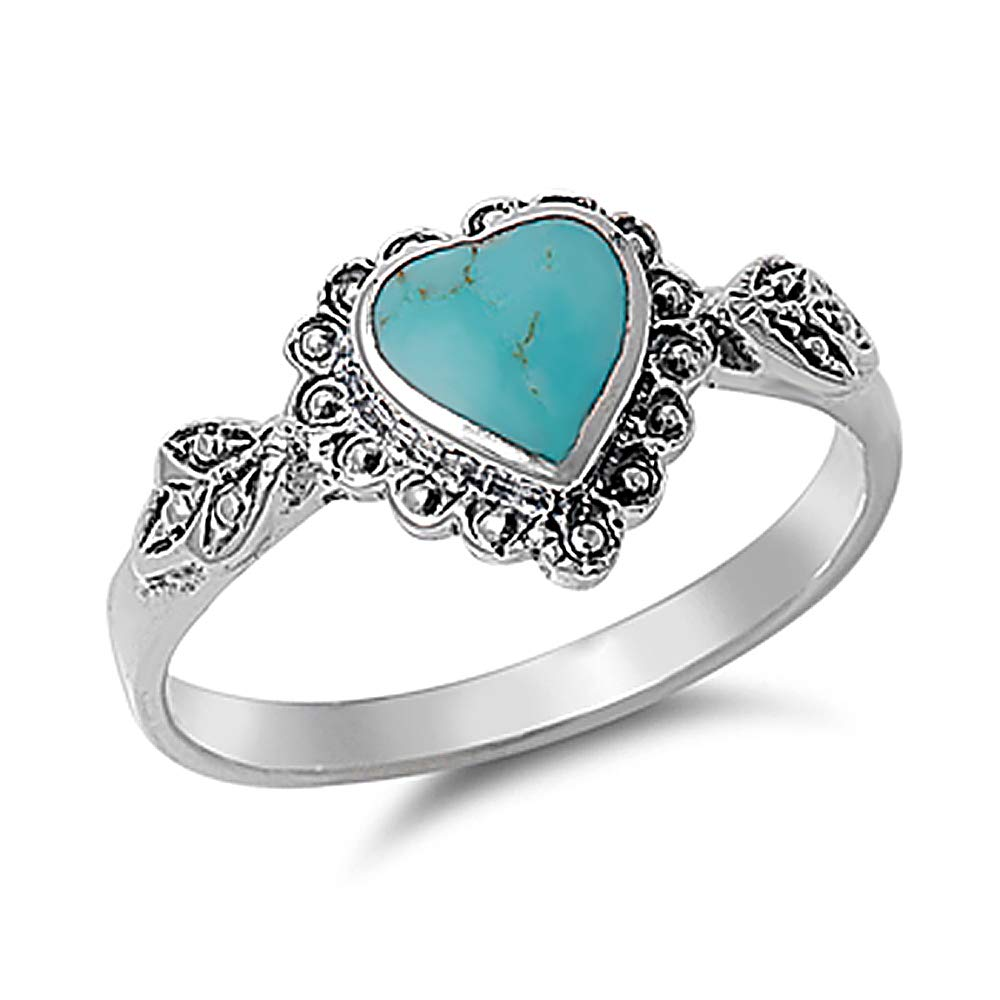 Double Accent Sterling Silver Simulated Turquoise Vintage Style Heart Promise Ring 10mm (Size 4 to 10)