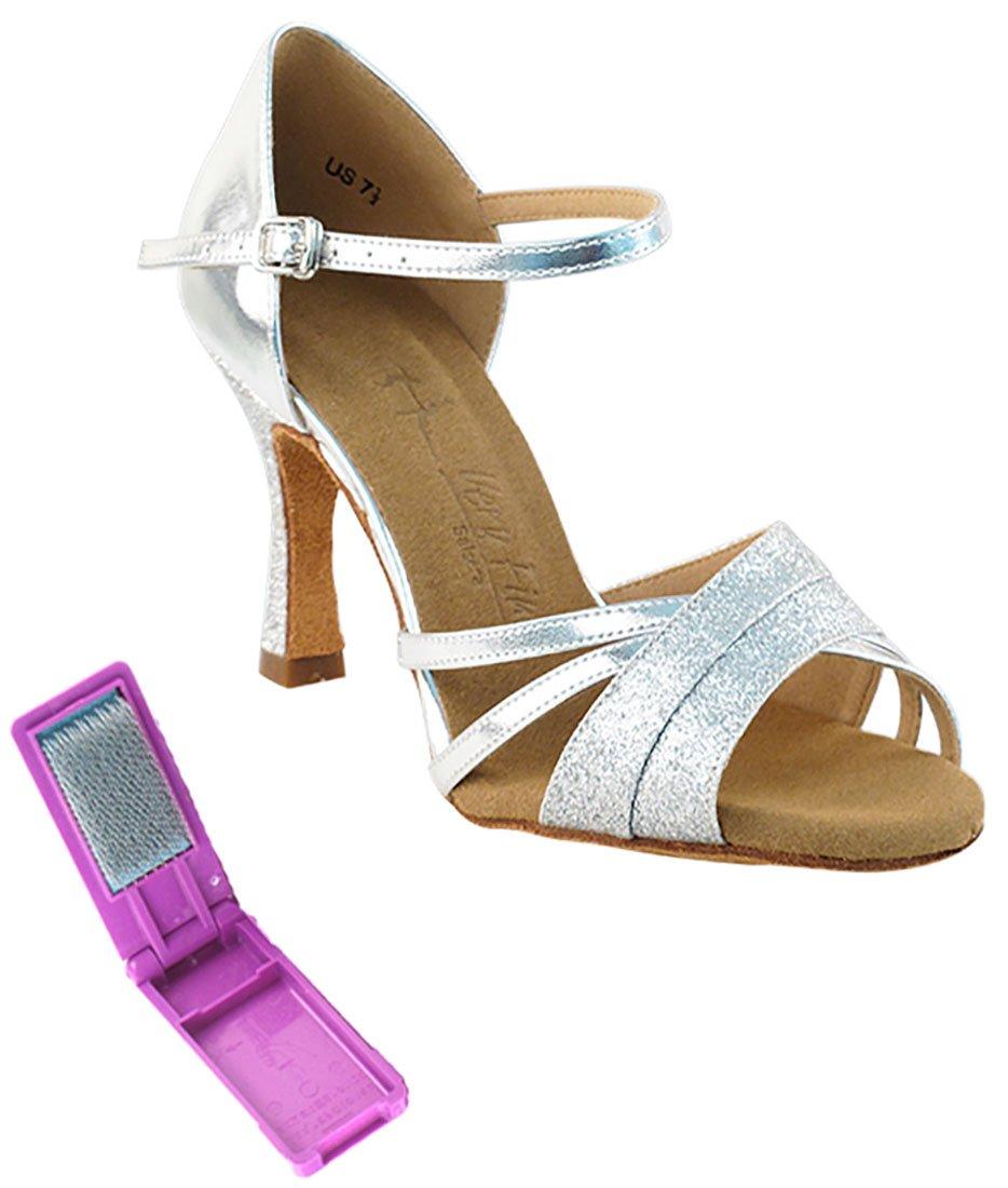 Very Fine Ballroom Latin Tango Salsa Dance Shoes for Women SERA6030 3-inch Heel + Foldable Brush Bundle - Silver Stardust & Silver - 7.5