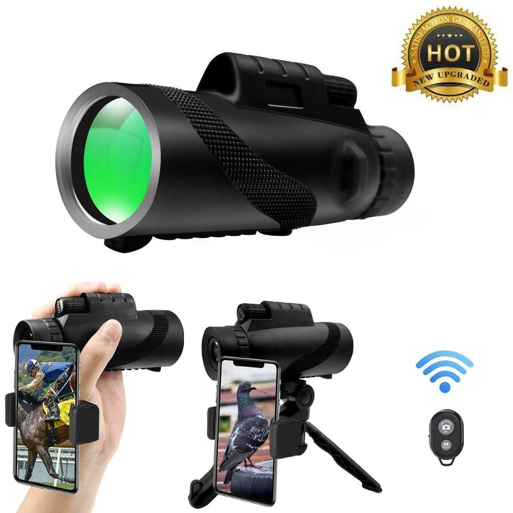 High Power Monocular Telescope 12x50, HD BAK4 Prism FMC Compact Monocular Waterproof with Smartphone Holder, Wireless Control & Tripod for Bird Watching Camping Hiking Travelling by Vodolo