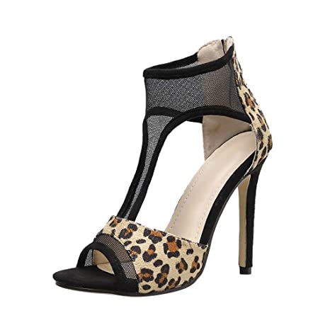 a0550aff1bf Image Unavailable. Image not available for. Color  AIMTOPPY Women s Fashion  Leopard High Heel Stiletto Zip Single Shoes ...