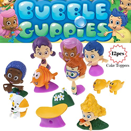 Bubble Guppies Cake Topper | 12 Figure Toy Set | Cake Decorations Figurines 1-2 Tall