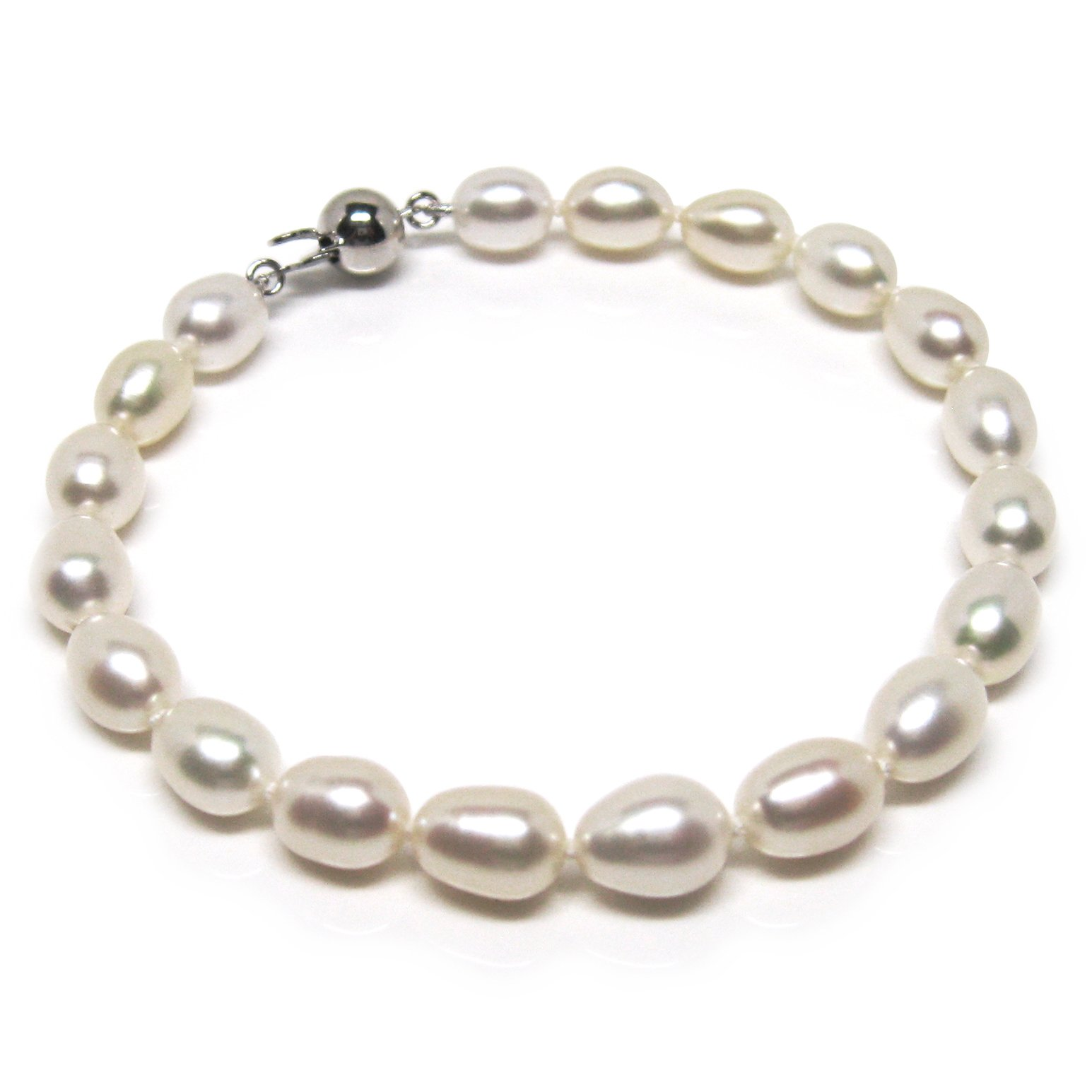HinsonGayle AAA Handpicked 8-8.5mm White Oval Freshwater Cultured Pearl Bracelet (Sterling Silver)-7.5 in length