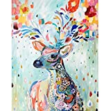 5D Diamond Painting by Number Kit DIY Crystal Rhinestone Cross Stitch Embroidery Arts Craft Picture Supplies for Home Wall Decor,Watercolor Sika Deer - 11.8x14.6 inches