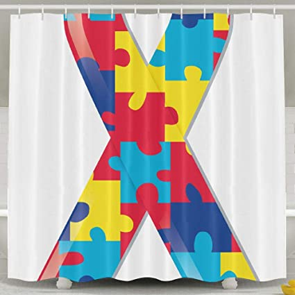 Autism Awareness Ribbon Shower Curtain Repellent Fabric Mildew Resistant Machine Washable Bathroom Anti Bacterial Polyester