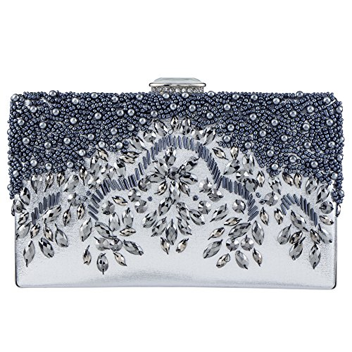 Bagood Women's Handmade Beaded Embroidery Crystal Evening Bag Party Handbag Shoulder Clutch Purse Silver ()