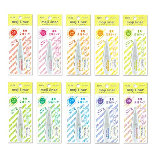 Plus moji liner crayonred, marking tape, (exchange tape), crayons touch with cap, 10-color pack, Pink Red Orange Yellow Lime Yellow Green Emerald Green Blue Purple Blue Purple