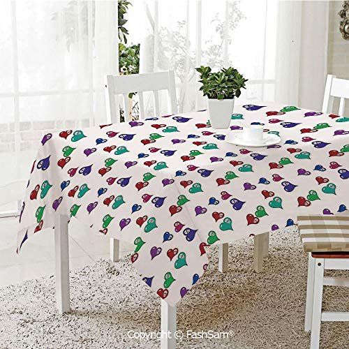AmaUncle 3D Print Table Cloths Cover Artistic Pattern with Colored Hearts and Skulls Kitchen Rectangular Table Cover (W60 xL104)]()