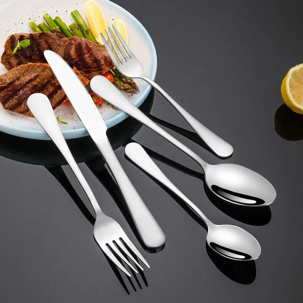   Silverware Set, Briout Flatware Set service for 4, Stainless Steel Cutlery Set 20 Piece Include Upgraded Knife Spoon Fork, Mirror Polished, Dishwasher Safe: Flatware Sets