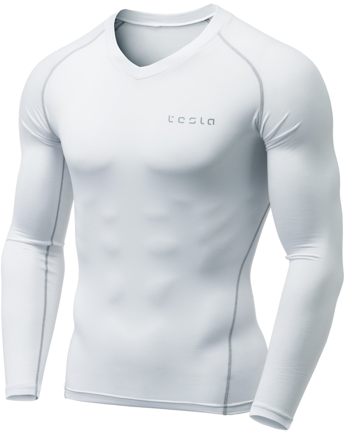 TSLA Men's Thermal Wintergear Compression Baselayer Vneck Long Sleeve Top, Thermal V Neck(yuv34) - White, Small by TSLA