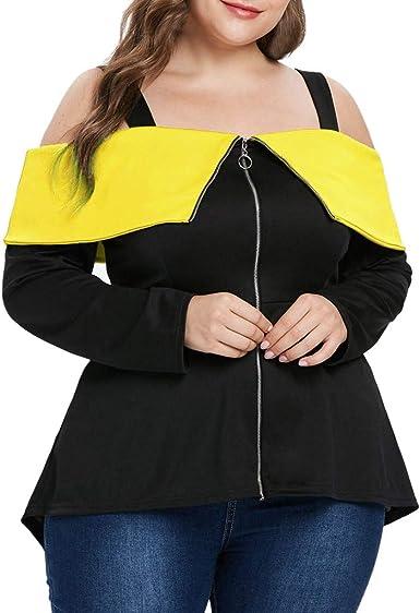 FAMILIZO Camisetas Mujer Verano Blusa Elegante Fiesta Originales Tallas Grandes Camisas Mujeres De Gran Tamaño De Hombro Cremallera De Manga Larga Camiseta Tops Blusa: Amazon.es: Ropa y accesorios