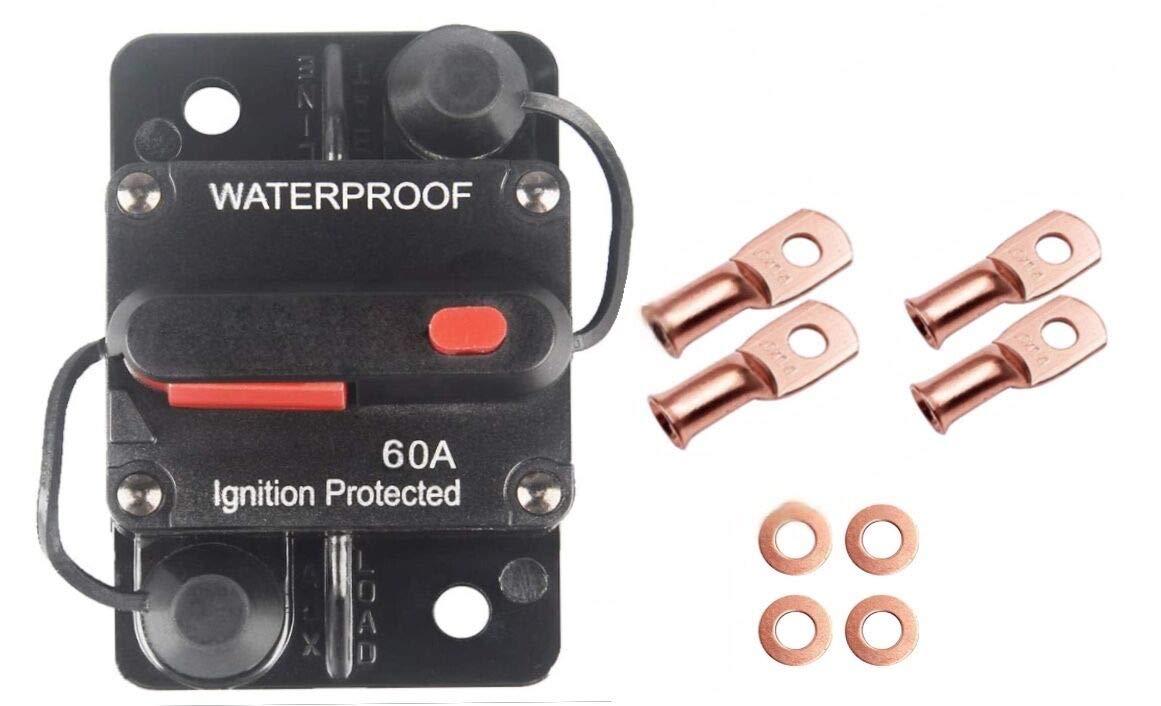 60A Waterproof Calvert win 60 Amp Circuit Breaker with Manual Reset for Car Marine Trolling Motors Boat ATV Manual Power Protect for Audio System Fuse 12V-48VDC