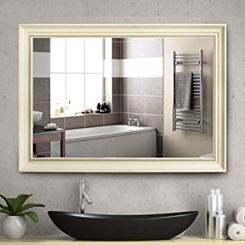 NeuType Large Bathroom Mirrors Wall Mounted Mirrors for Bathroom Bedroom  Living Room,European Style Vanity Mirror,Ivory White High Polymer Material  ...