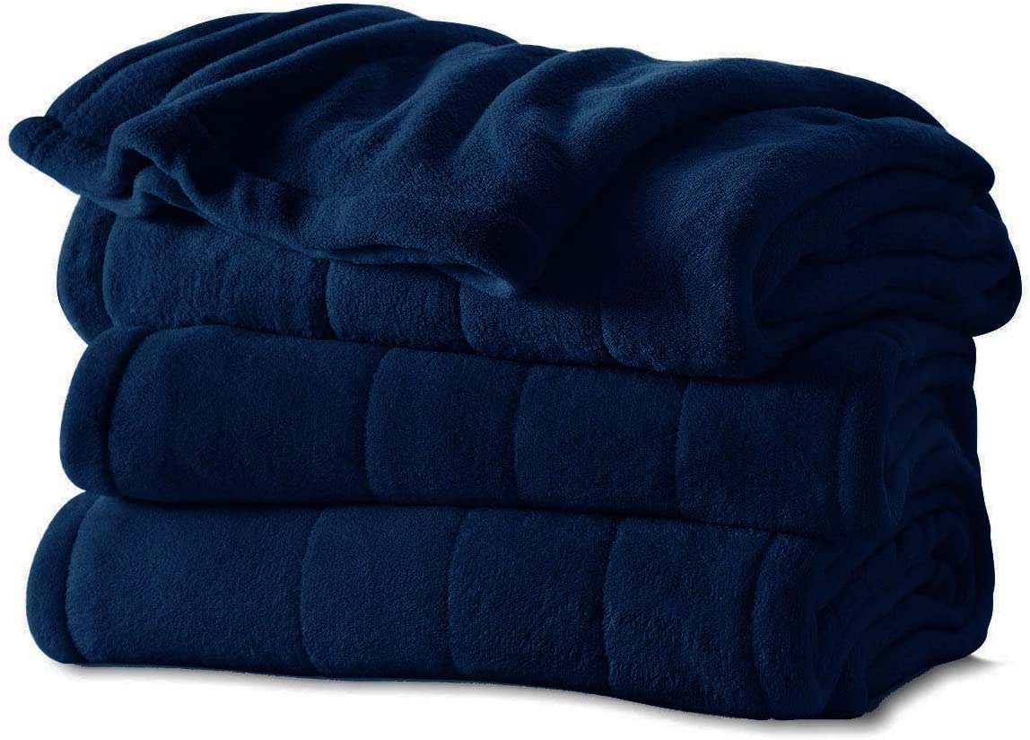 Sunbeam Channeled Soft Microplush Electric Heated Warming Blanket Twin Royal Blue Washable Auto Shut Off 10 Heat Settings